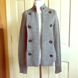 J. Crew Gray Wool Open Front Knit Cardigan